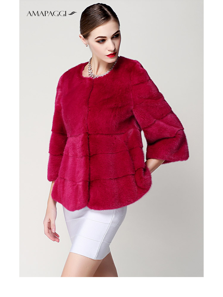 2015 Popular Customize Women Red Short Mink Fur Coats For Sale