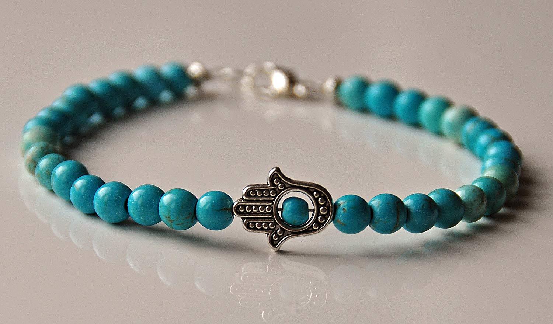 Turquoise Chakra Gemstone Beaded Anklet, Boho Jewelry, Boho Anklet, Balance Chakra, Energy Healing, Hamsa Hand Protection,