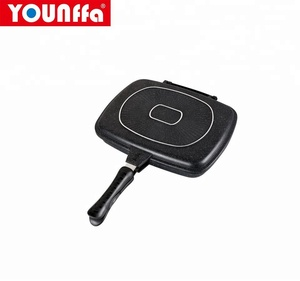 aluminum kitchen cooking grill pan marble coating die-cast double frying pan