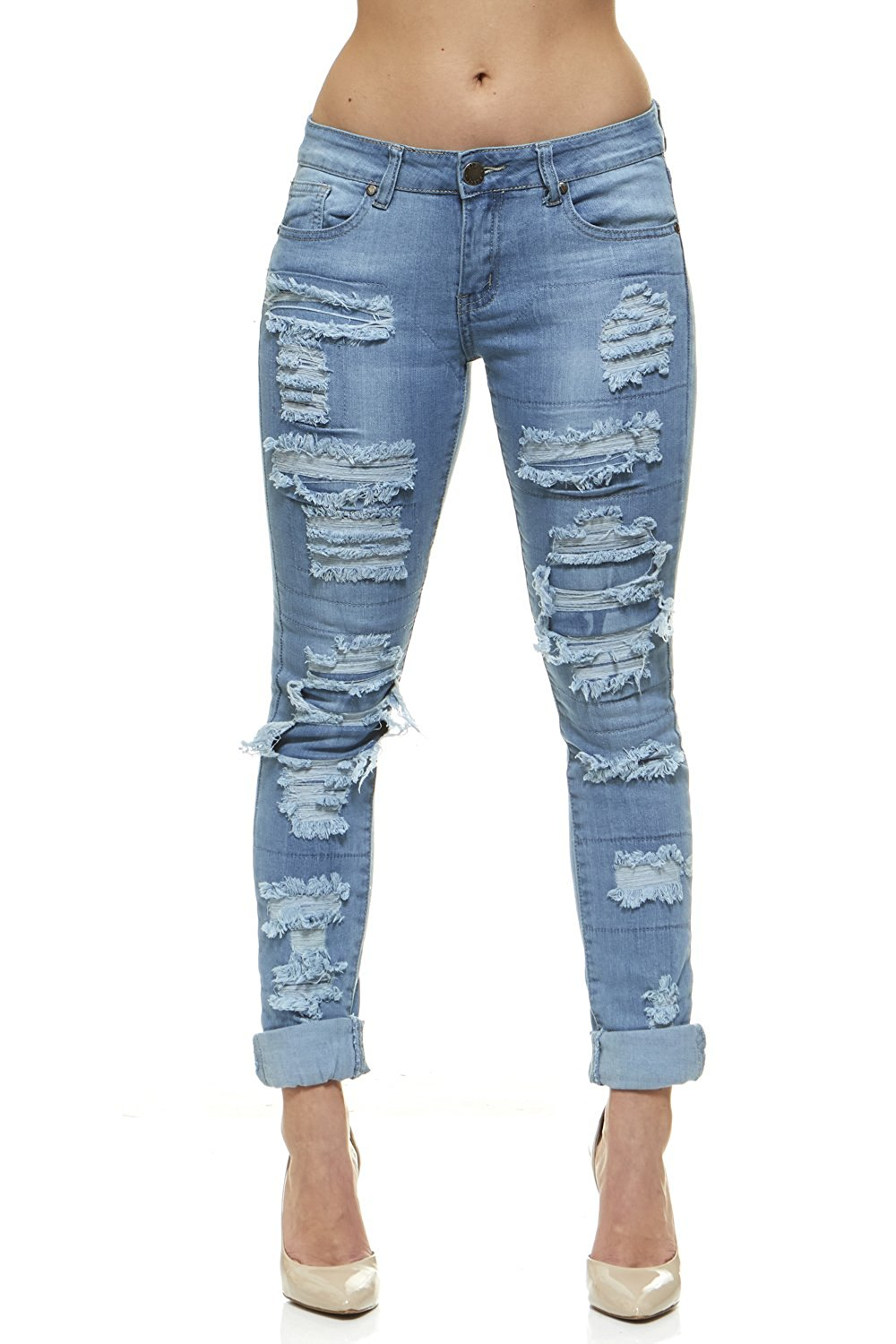 c4d6df79c2143 Get Quotations · V.I.P.JEANS Plus Size Jeans for Women Distressed Skinny  Ripped Patched Jeans Junior and Plus Sizes