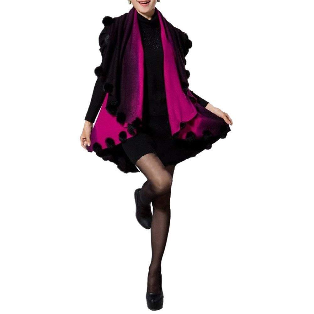 GQMART Womens Loose Knitting Batwing Wool Poncho Jacket Winter Warm Cloak Coat Cardigan Rose