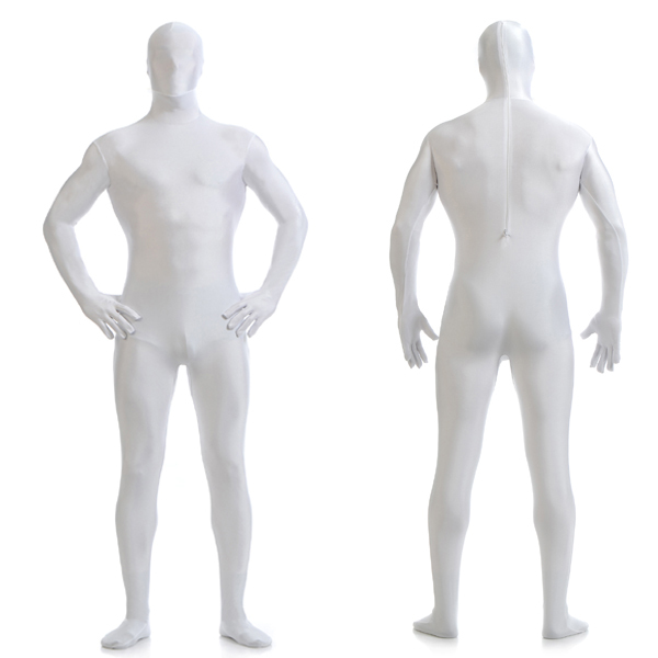 Get Quotations · Fast Delivery Adult Men White Lycra Spandex Bodysuit  Removable Zentai Suit Slendr Masked Catsuit for Male a5059af7e