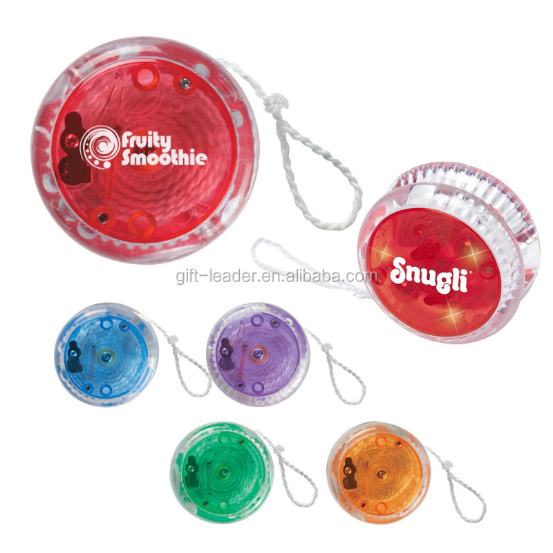 Deluxe handy see-through plastic super smart lanyard children finger reel control play toys magic led light growing yoyo ball