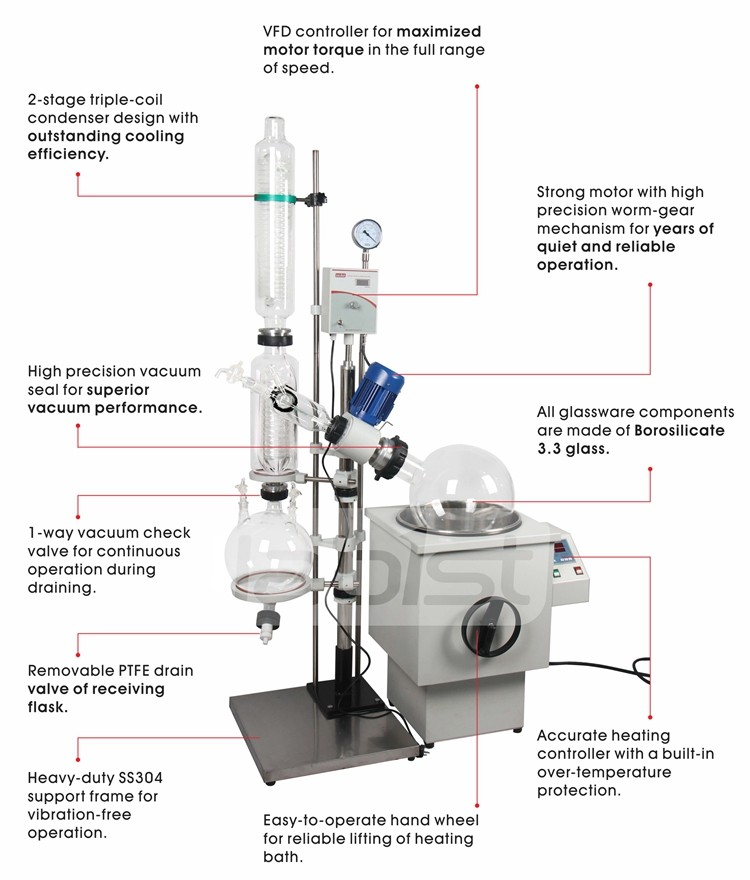 Lab Scale Oil Bath 10L 20L 50L Rotary Evaporator with vertical condenser