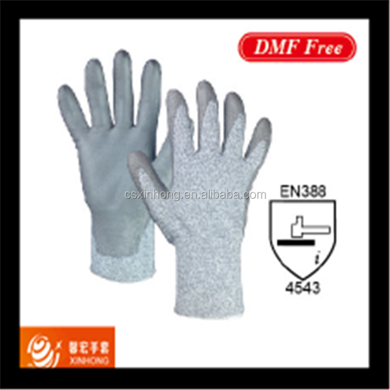 CE EN388 HPPE and glass fibre yarn Glove Against Cutting