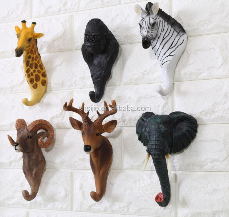 American Retro Walled Resin Animal Wall Hanging Deer Creative Decorative Hook