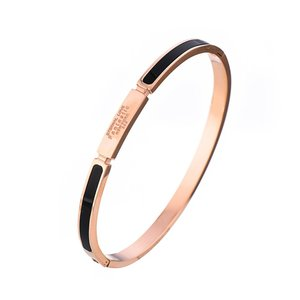 Rose gold plated with black enamel stainless steel bangle with engrave logo