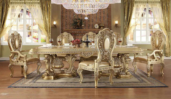 Italian Royal Style Solid Wood Goldleaf Expandable Dining Table SetArabic Palace Golden Room
