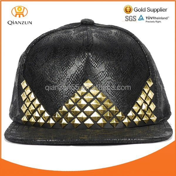 grain black leather snapback strapback hat gold classic style hip hop sale