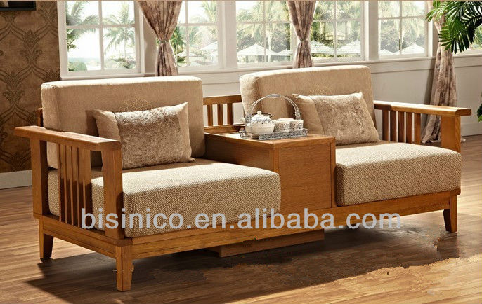 Morden Wooden Sofa With Love Seat Cushion,Full Solid Wood Sofa W ...