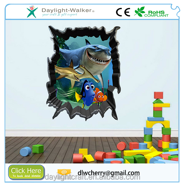wholesale amazon hotting Fashion 3D Shark Home Sticker Wall Art Decals