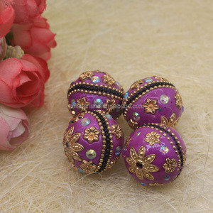 New 22MM Round Tibet Clay Handmade Kashmiri Beads with Crystal Rhinestone Carved Disco Balls
