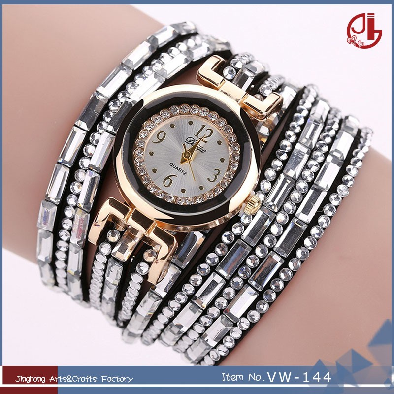 Fashion Women Rhinestone Leather Bracelets Wrap Lady Wrist Watch Women Imitation Cheap Watch