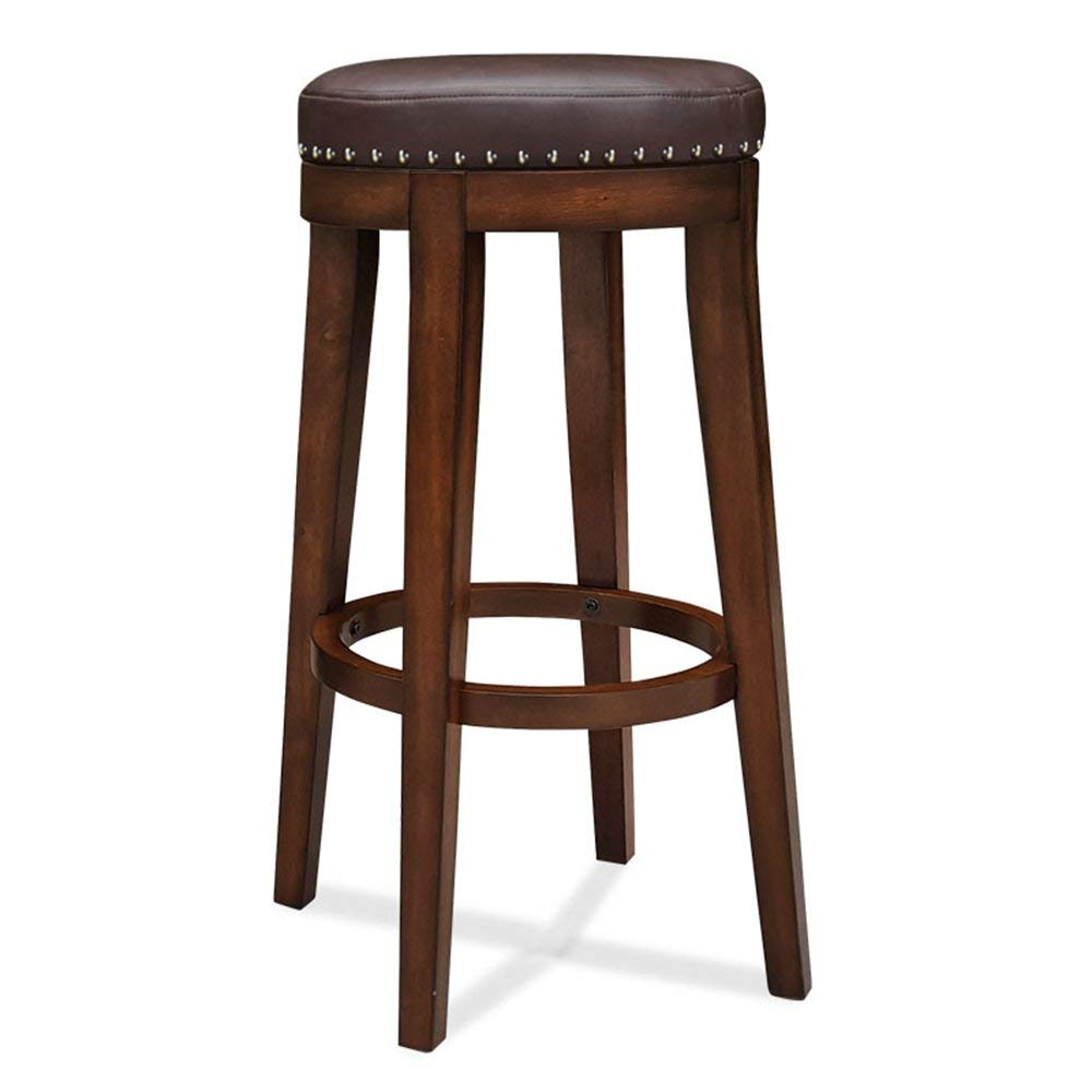 European bar stool/solid wood bar stool American bar stool chair/round chair thick pad Home bar chair/bar stool High stool (Color : No backrest, Size : 4954cm)