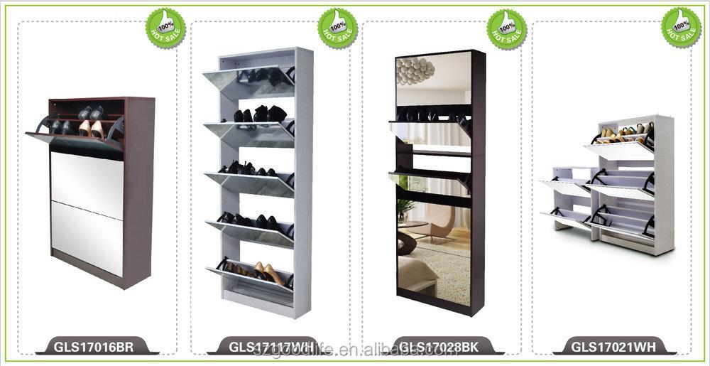 Glass Mirror Door Shoe Cabinet Drawing From Foshan Factory