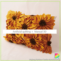 New products 3D sunflower designer handmade embroidery wool cushion cover