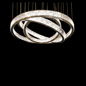 Large Hotel Lobby Stainless Steel K9 crystal Lamp Lighting LED Ring Light