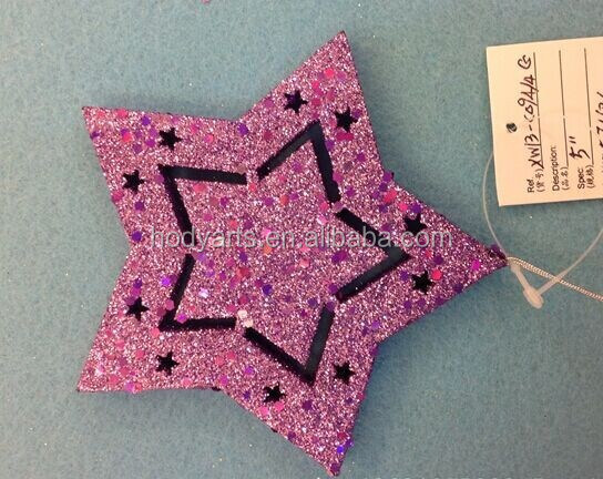 Hot sale new design and high quality with size of 12cm Star shaped christmas decoration