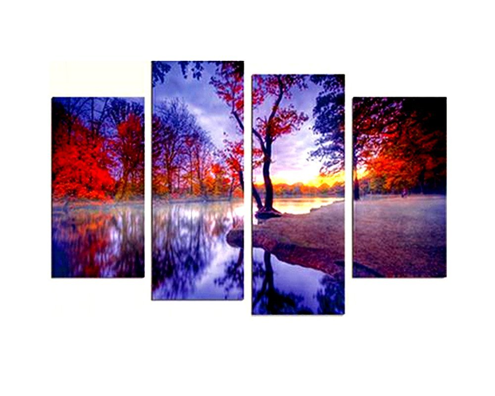 BERDECIA Modern Beautiful Autumn Pure Nature Scenery Painting Wall Art Riverside Red Maple Trees Foggy Forest With Leaves On Ground Canvas Decor For Home Artwork