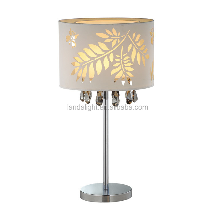 Decorative Table Lamp Silver Base With Fabric Shade Crystals Led ...
