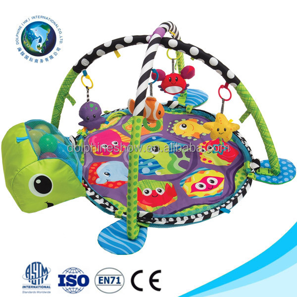 Waterproof custom logo soft plush animal baby crawl play gym mat wholesale folding care kids plush turtle toy baby play mat