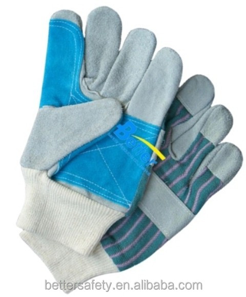 China Blue Palm Cheap Gray Cow Split Leather Work Glove Knit Wrist