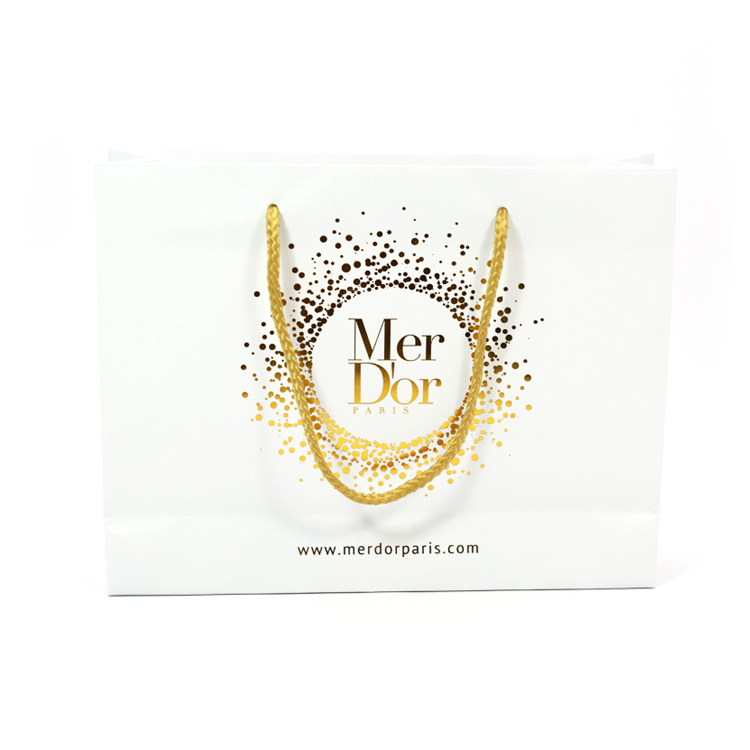 APB-02 Hot stamp foil custom logo luxury fancy gift paper shopping bag with handles