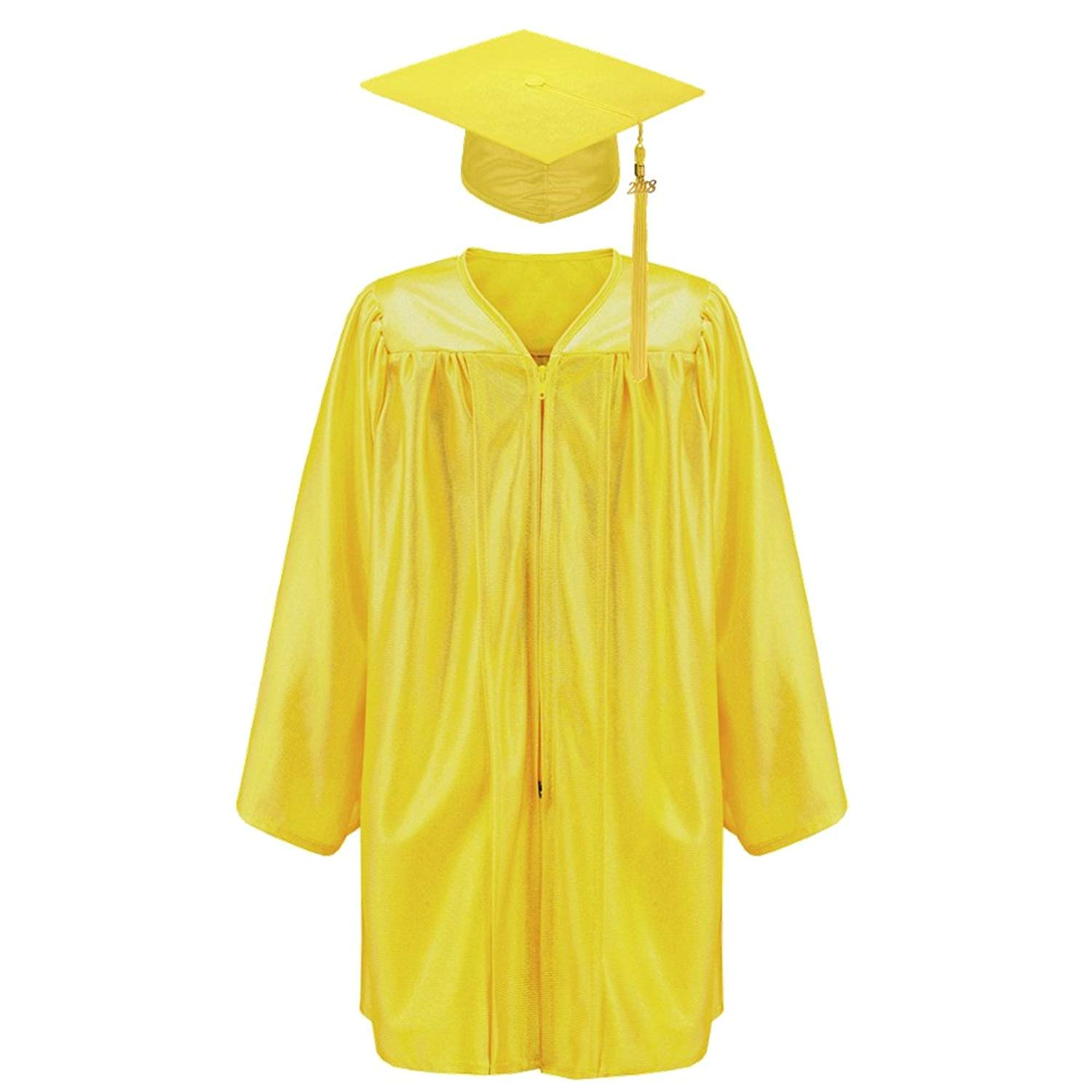 Robe Depot Unisex Shiny Kindergarten Graduation Gown Cap Tassel 2018 Package, Gold,L