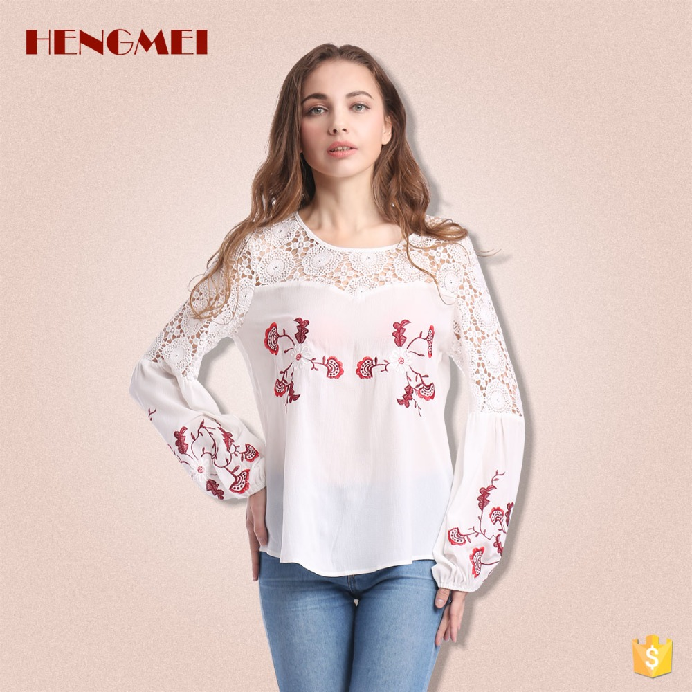 Factory wholesale 2017 flower flower lace chiffon top design ladies blouse for woman