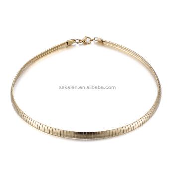 acb9db67ca40 Kalen de acero inoxidable 18 K chapado en oro collares para mujeres de moda  40 cm