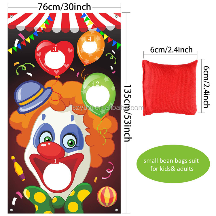New product ideas 2019 personalized clown design toss game with sand bag