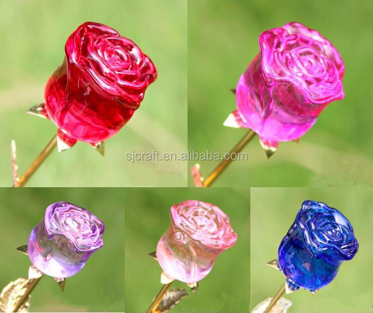 Elegant K9 Crystal Rose Flowers,Glass Rose Flower Crystal Flowers ...