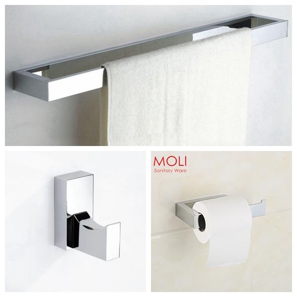 salle de bains accessoires set carr barre de serviette toilettes porte papier robe crochet. Black Bedroom Furniture Sets. Home Design Ideas