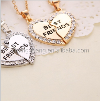 2015 New Style Fashion Broken Heart Parts 2 Best Friend Necklaces & Pendants,Share With Your Friends