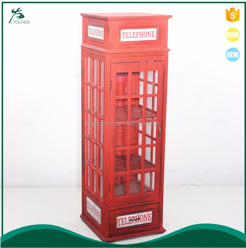 Classic Red British Phone Booth Storage Cabinet