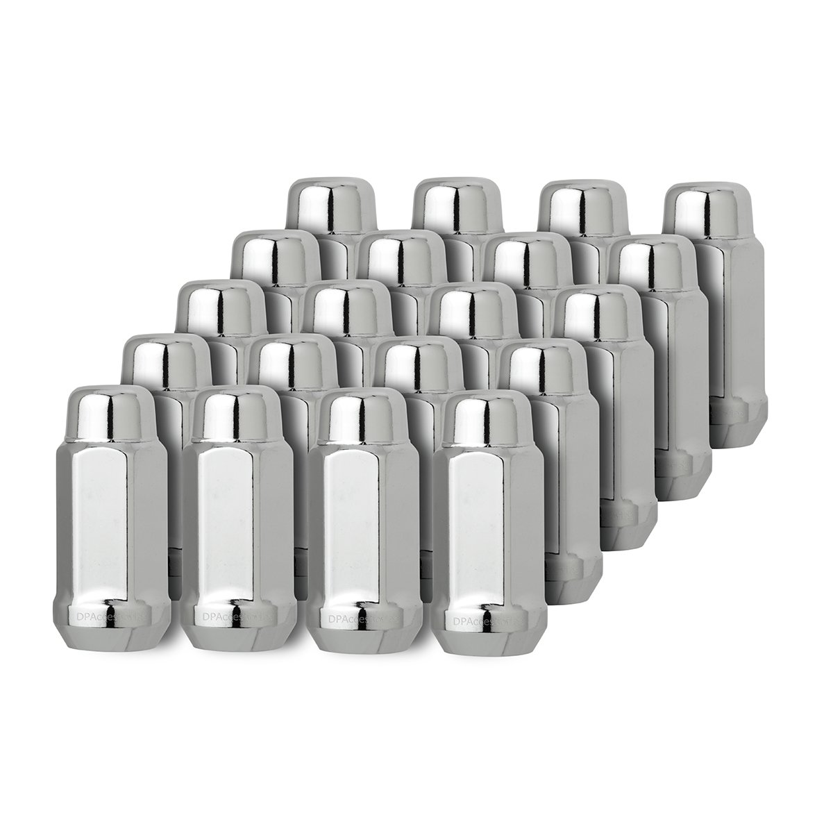 4 DXZ 20 Chrome 12x1.5 Closed End Bulge Acorn Lug Nuts 19mm Hex Wheel Lug Nut Cone Seat
