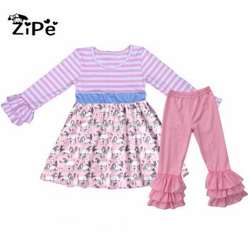 Pink Colors Children Ruffle Outfits Wholesale Baby Clothes Boutique Unicorn  Clothes Outfit fbb9e6de81