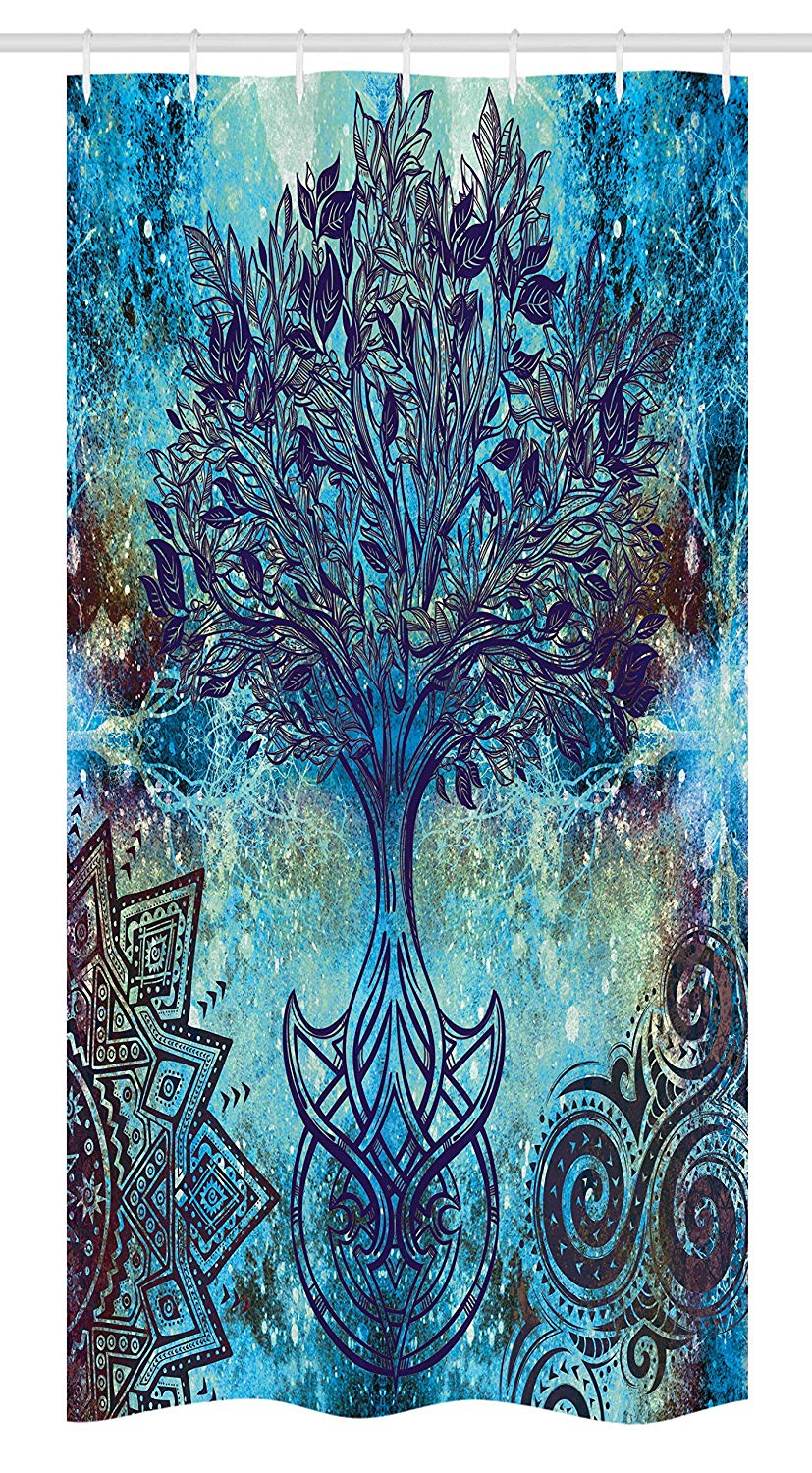 Ambesonne Bohemian Stall Shower Curtain, Grunge Style Tree Pattern with Ethnic Mandala and Spiral Shapes Blurry Artwork, Fabric Bathroom Decor Set with Hooks, 36 W x 72 L Inches, Turquoise Brown