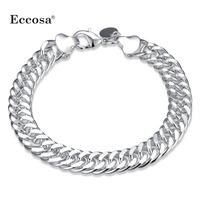 2017 Jewelries Free Sample Wholesale Copper Link Bracelets 925 Silver Bracelet Hand Chain For Men