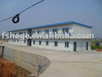 Bright color flat roof prefabricated House for project and temporary