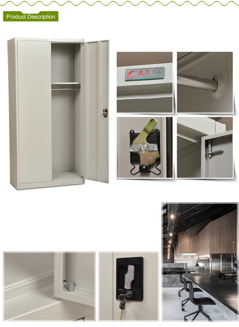 China modern designed white folding 2 door metal wardrobe