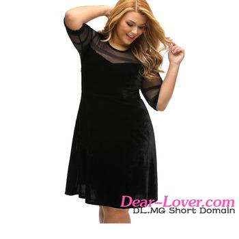 74f7f694153 Plus Size Clothing Hot Trendy Mesh Insert Black Velvet Sexy Short Fat Women  Dress