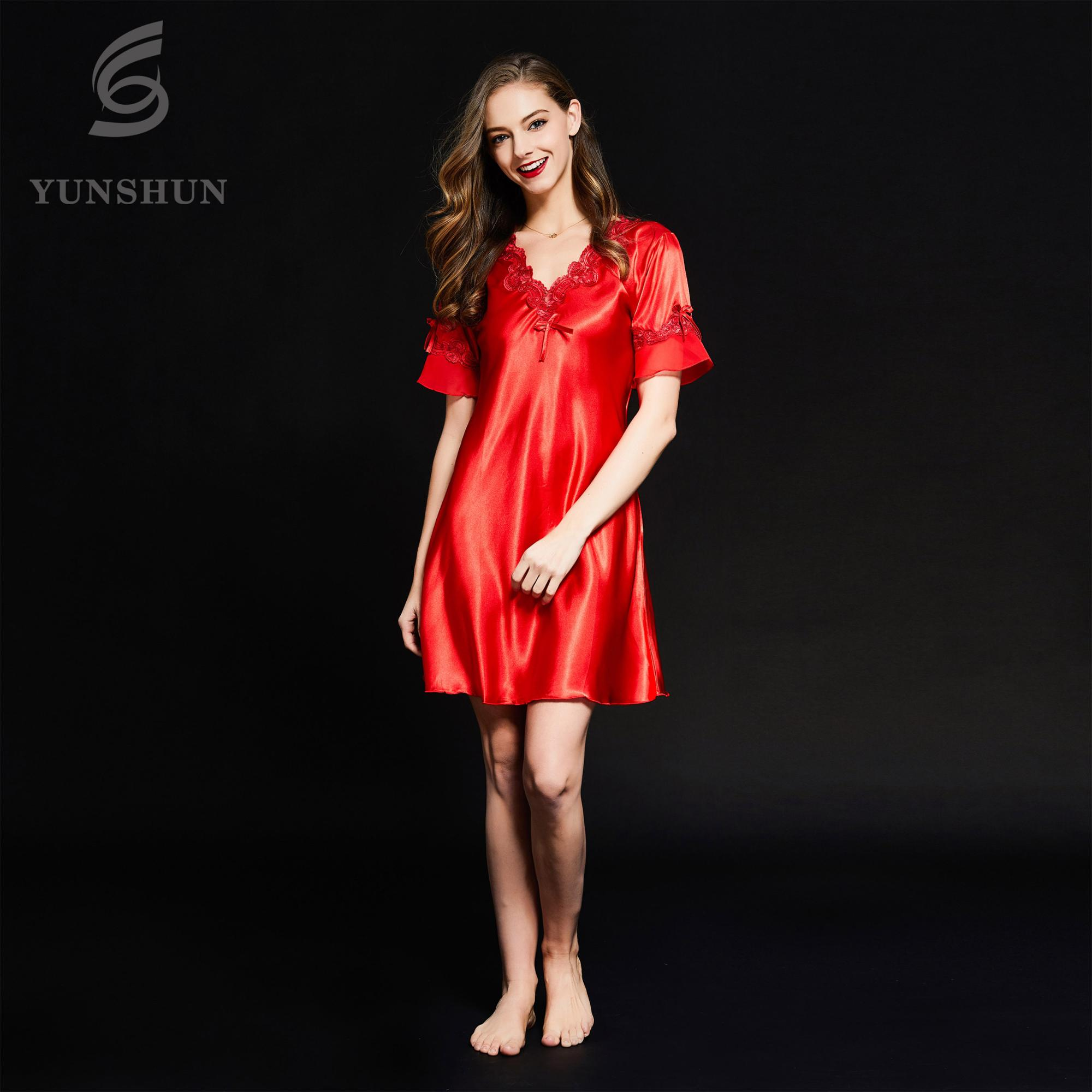 8d17219cde Luxury women V neck short sleeve silk satin sexy nighty nightgown  embroidered sleeping hot night dresses