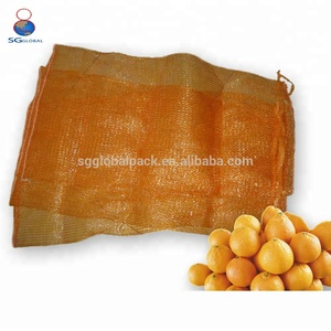 Durable customized orange pp leno mesh fruit packaging bags