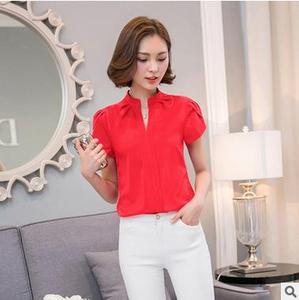 Alibaba ladies summer new style blouse sexy v-neck design woman chiffon t-shirt