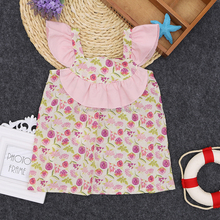 Pink Flower Girl Flutter Sleeve Dress Wholesale Baby Frocks Designs Infants One Piece Dress