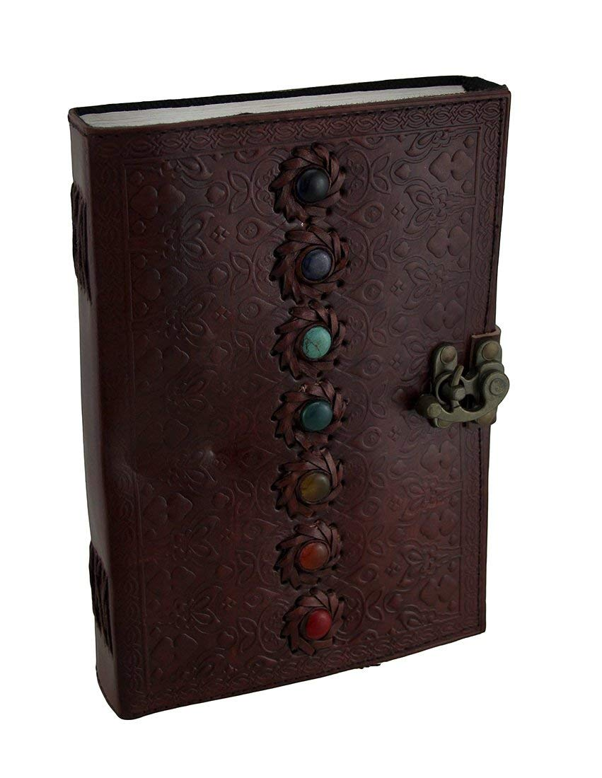 Zeckos Leather Journal Colorful Chakra Stones Embossed Leather Bound Journal 7 X 10 Inch 7 X 10 X 1.75 Inches Brown