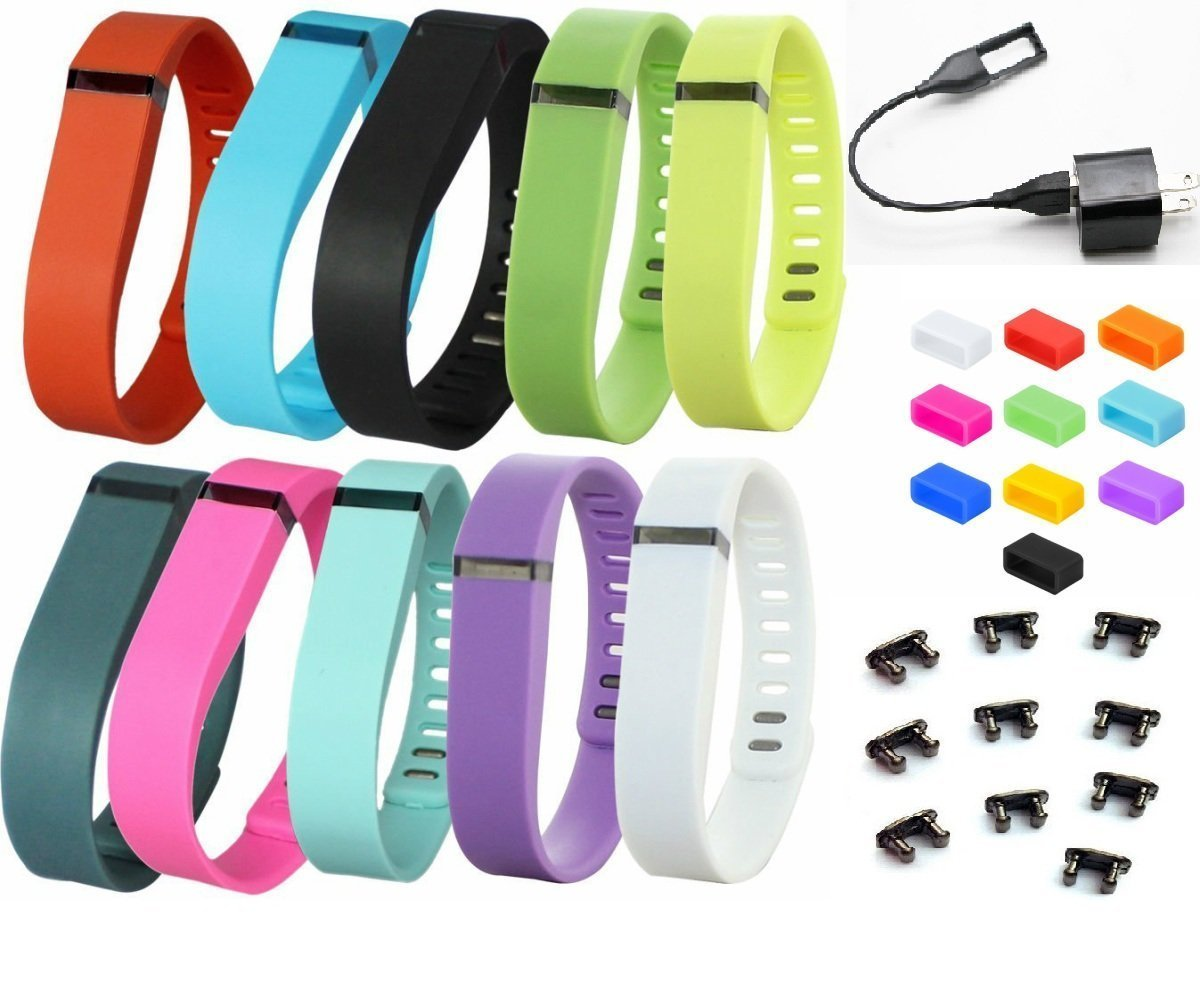 BeauteCa Pack of 20 Premium Fitbit Flex bands Accessory with Clasp 10 Fitbit wristbands Replacement NO Tacker And 10 Silicone Fasteners Secure Your Fitbit Wristband Set