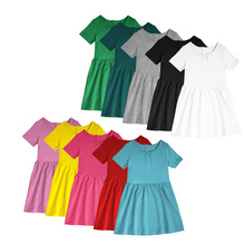 Popular simple breathable short sleeve fashion kids party daily wear girl dress