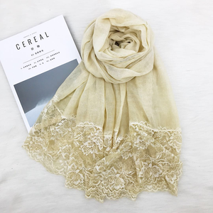 New trend small lace scarf shawl light transparent cotton linen cloth scarf hijab pure color simple scarf